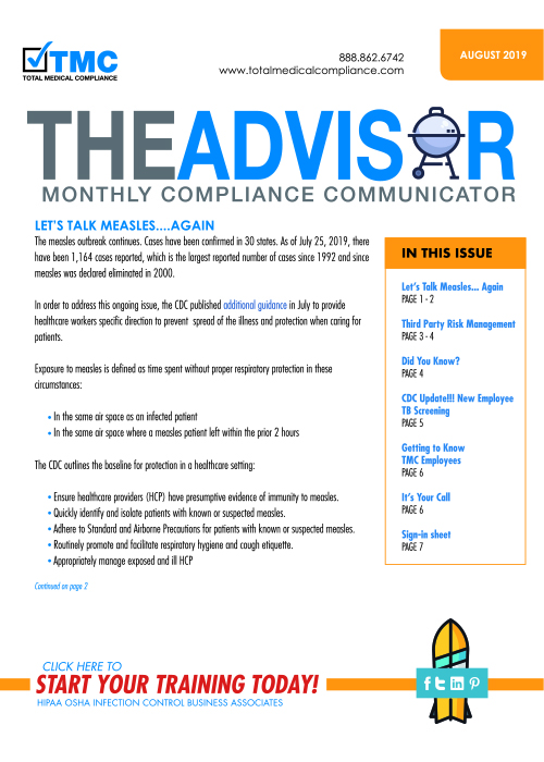 August Advisor Newsletter cover 2019