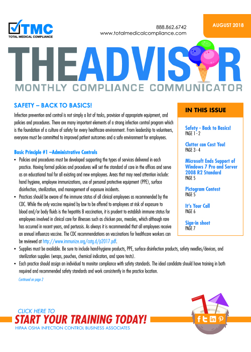 The cover of TMC's August 2018 Compliance Newsletter