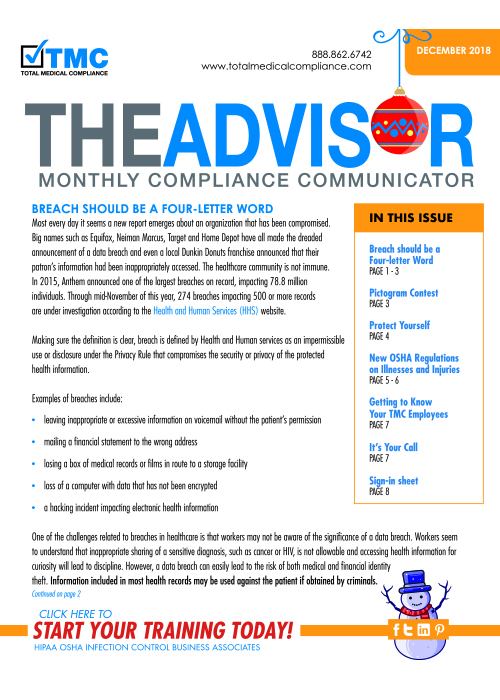 The cover of TMC's December 2018 Compliance Newsletter