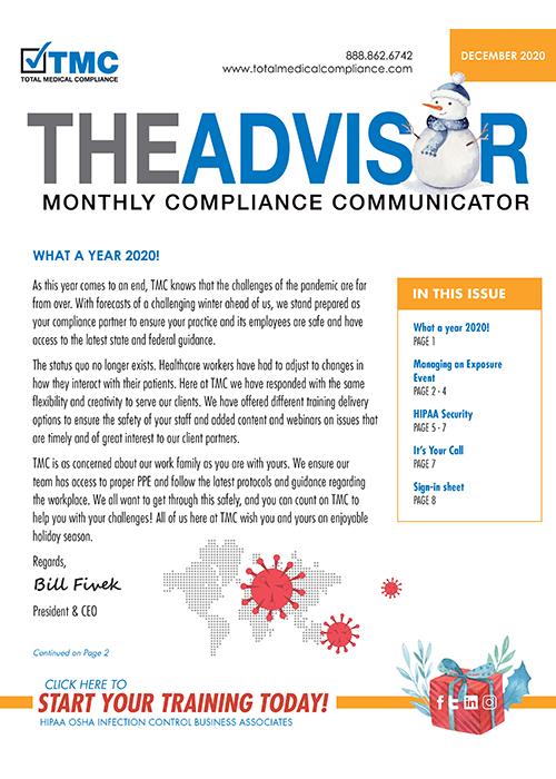 Total Medical Compliance December 2020 Advisor newsletter graphic