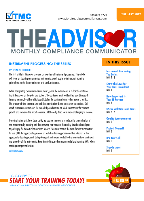 The cover of TMC's February 2019 Compliance Newsletter