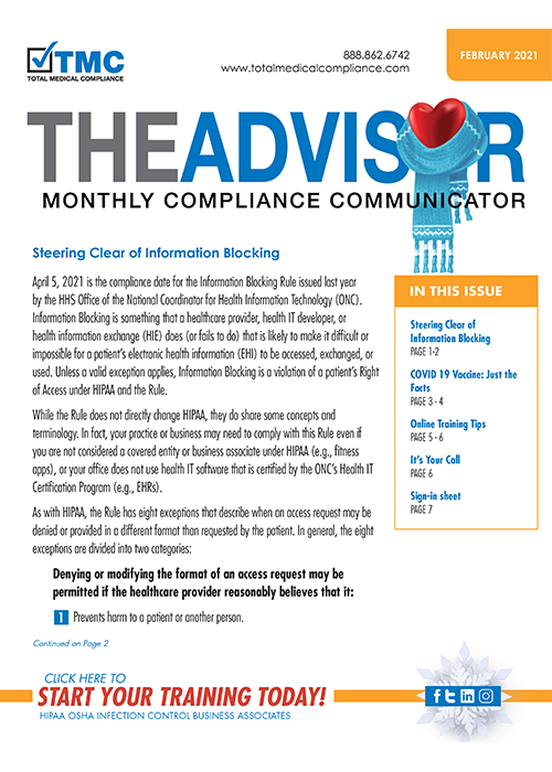 Total Medical Compliance Newsletter February 2021 picture