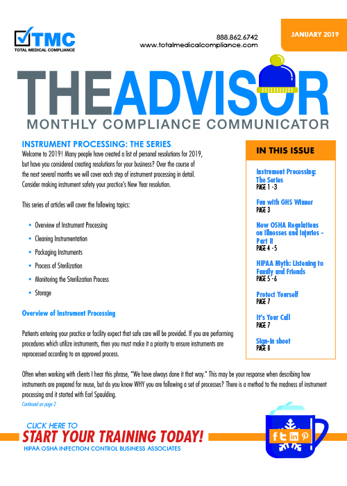 The cover of TMC's January 2019 Compliance Newsletter