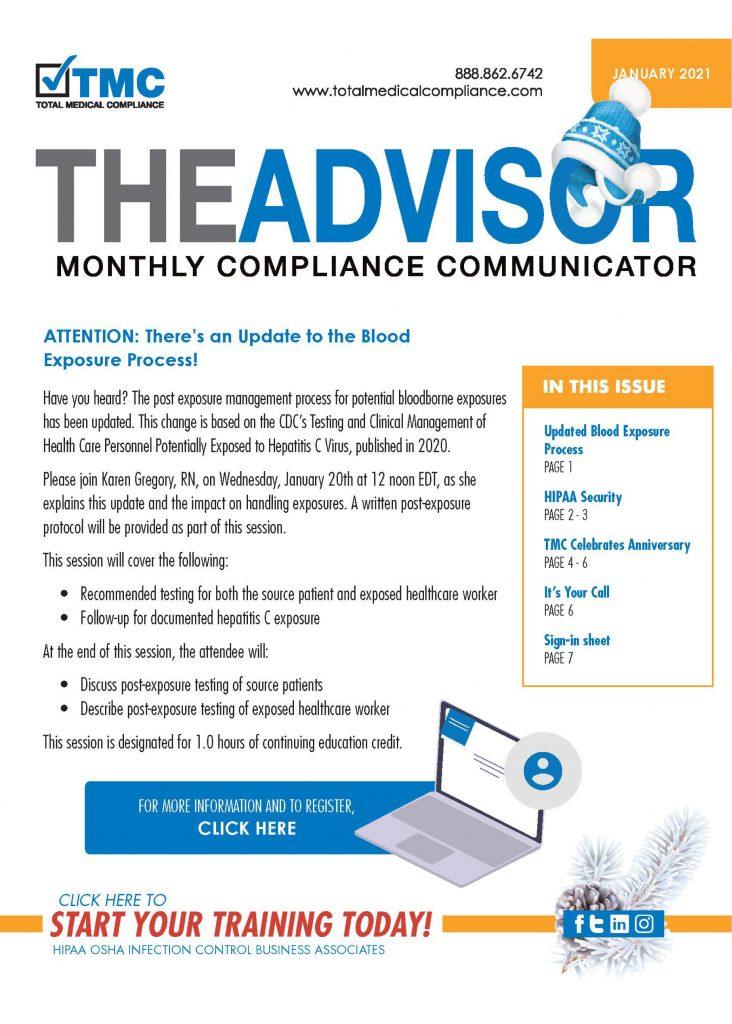 Total Medical Compliance Advisor Newsletter January 2021