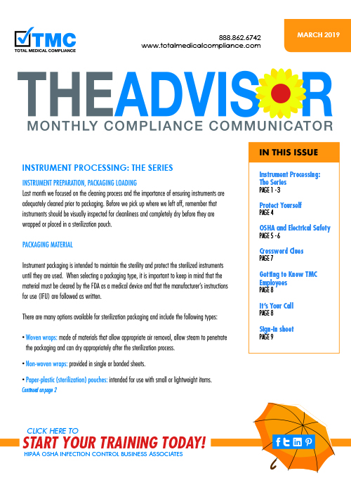 The cover of TMC's March 2019 Compliance Newsletter