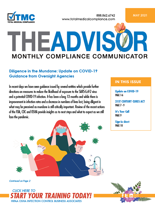 May 2021 Total Medical Compliance Advisor Newsletter