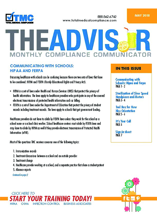 The cover of TMC's May 2018 Compliance Newsletter