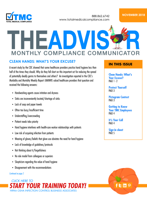 The cover of TMC's November 2018 Compliance Newsletter
