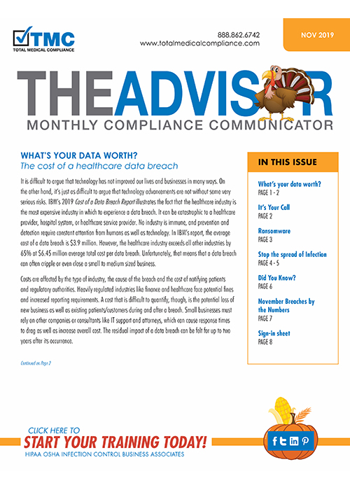 TMC Advisor Compliance Newsletter November 2019