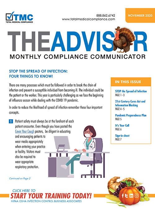 Total Medical Compliance November 2020 Advisor newsletter graphic