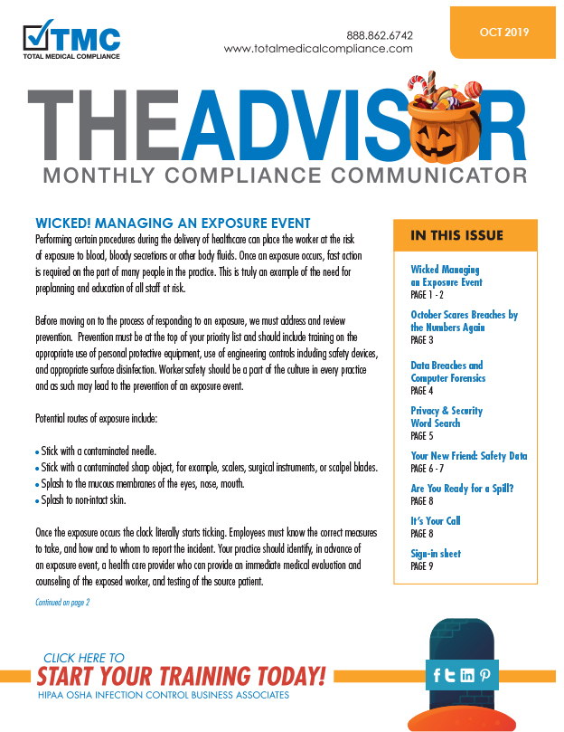 Total Medical Compliance October Advisor 2019
