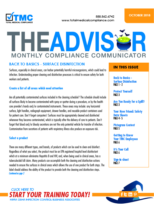 The cover of TMC's October 2018 Compliance Newsletter