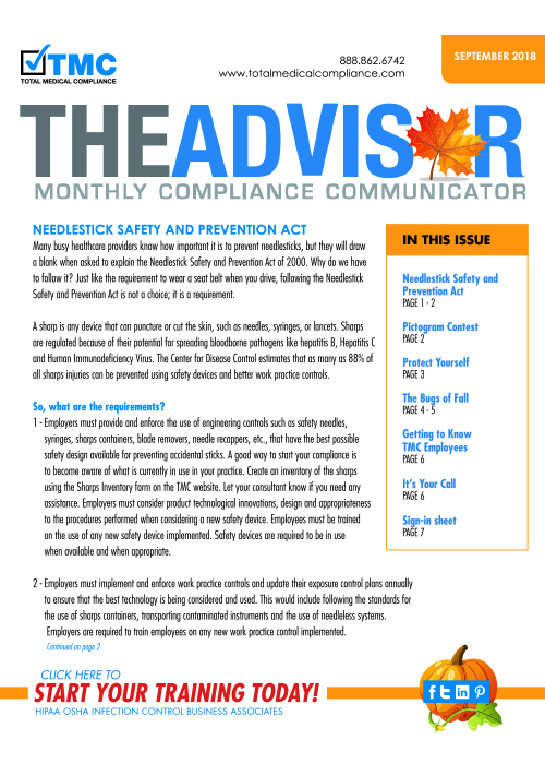 The cover of TMC's September 2018 Compliance Newsletter