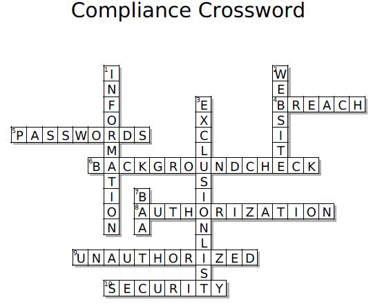 compliance crossword answer